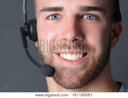 A customer support operator with a headset isolated on white background