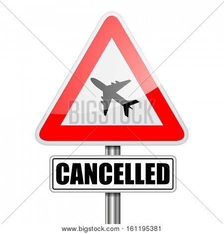 detailed illustration of a red attention Flight Cancelled sign, eps10 vector