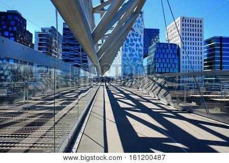 Akrobaten pedestrian bridge in Oslo - Norway