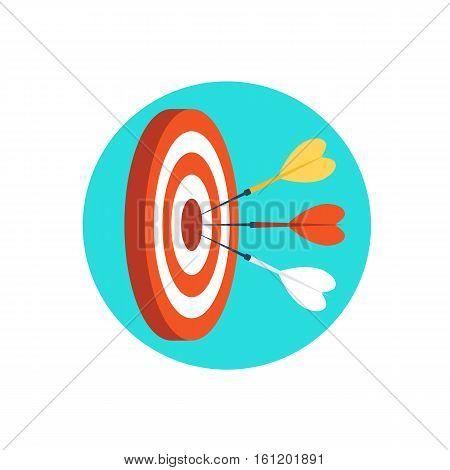 Target marketing icon.Three darts hit the target.