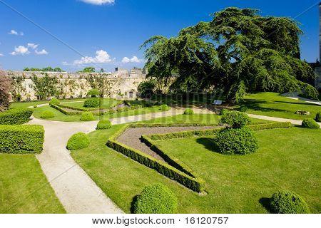 garden of Chateau de Montreuil-Bellay, Pays-de-la-Loire, France