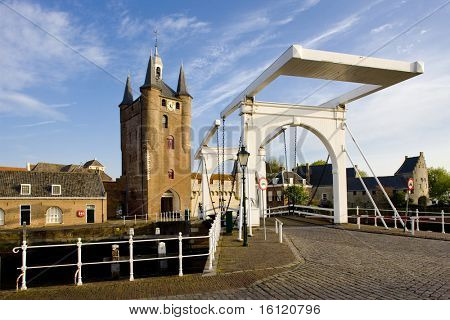 medieval gate and drawbridge, Zierikzee, Zeeland, Netherlands