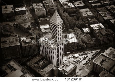 SEATTLE, WA - AUG 14: Smith Tower rooftop view with street on August 14, 2015 in Seattle. Completed in 1914, it is the oldest skyscraper in Seattle.