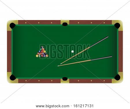 American pool billiard table with a cue and balls isolated on a white background. Top view illustration