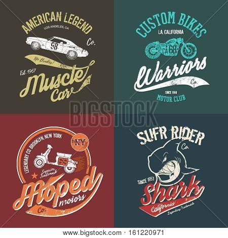 Vintage American muscle car and custom motorcycle motor club grunge t-shirt tee print vector artwork illustration set. Retro wild shark t-shirt logo concept. NY Brooklyn moped handmade t-shirt emblem.