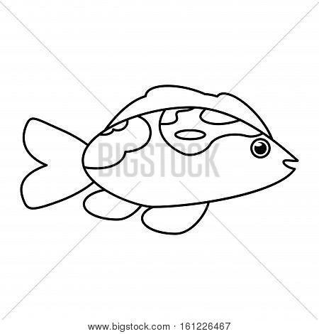 Fish animal cartoon icon. Sea life ecosystem fauna and ocean theme. Isolated and silhouette design. Vector illustration