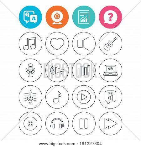 Music icons. Musical note, acoustic guitar and microphone. Notebook, dynamic and headphones symbols. Report document, question and answer icons. Web camera sign. Vector