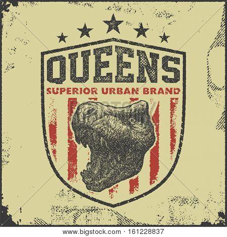 vintage queens typography, t-shirt graphics, vector illustration