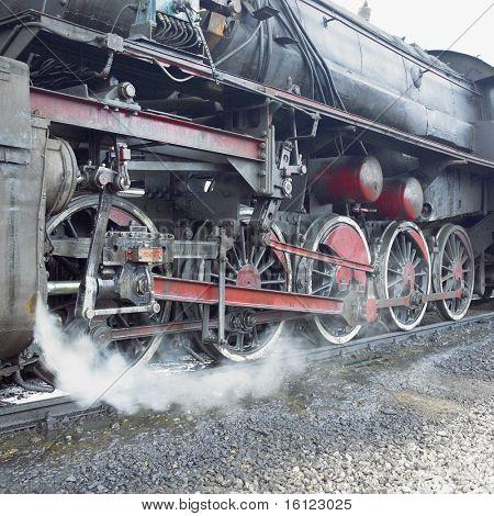detail of steam locomotive (33-326), Dubrava, Bosnia and Hercegovina
