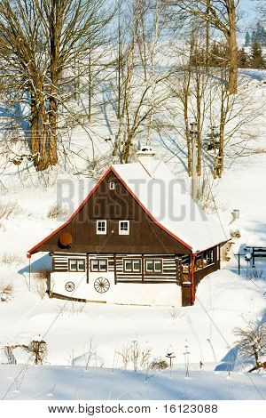 cottage in winter, Bartosovice in Orlicke Mountains, Czech Republic