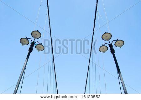Street Lamps Under Blue Sky