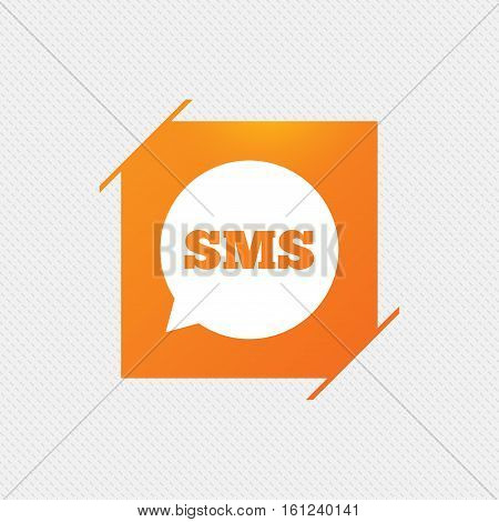 SMS speech bubble icon. Information message symbol. Orange square label on pattern. Vector