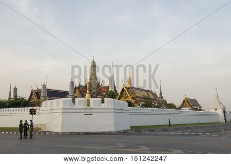 BANGKOK THAILAND - NOV 22 : clear traffic on Ratchadamnoen Nai road near wat phra kaew while the funeral of king Bhumibol Adulyadej in Grand Palace on november 22 2016