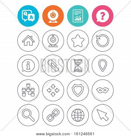 Web elements icons. Paperclip, video camera and information speech bubble. Database, anonymous mask and secure shield. Report document, question and answer icons. Web camera sign. Vector