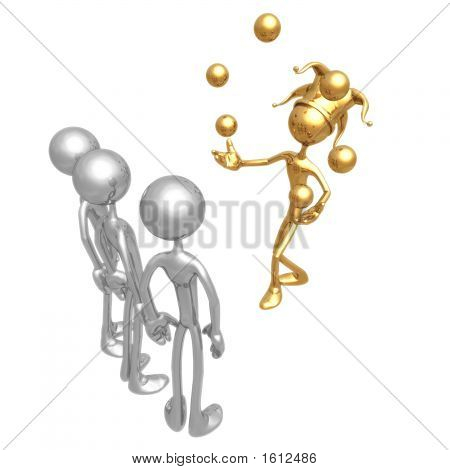 Golden Guy Juggling For Silver Audience (3D Render)
