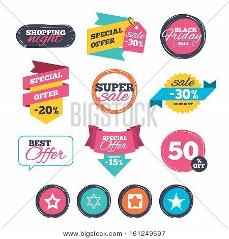 Sale stickers, online shopping. Star of David icons. Sheriff police sign. Symbol of Israel. Website badges. Black friday. Vector