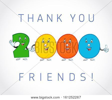 Thank you 2000 followers card. The vector thanks symbol for internet network friends with colored cartoon numbers.