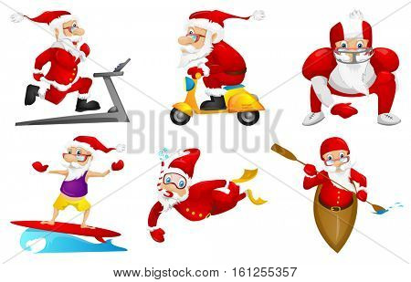 Set of sporty Santa Claus characters running on a treadmill. Set of cute Santa Claus characters dressed as sportsmen. Santa Claus playing rugby. Vector illustration isolated on white background.