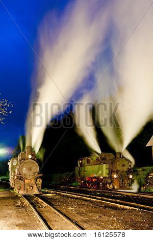 steam locomotives at night, Oskova, Bosnia and Herzegovina