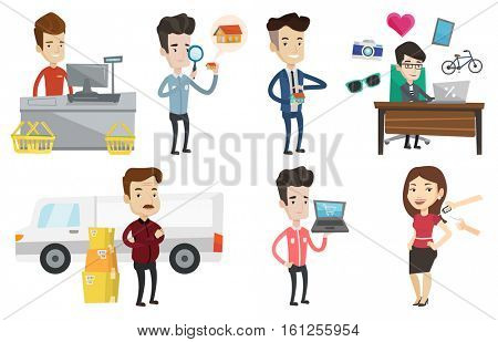 Cashier standing at checkout in supermarket. Cashier working at checkout in supermarket. Cashier standing near the cash register. Set of vector flat design illustrations isolated on white background.