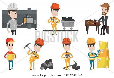 Miner in hard hat working with a pickaxe. Miner working at the coal mine. Miner holding coal in hands. Shoemaker repairing a shoe. Set of vector flat design illustrations isolated on white background.