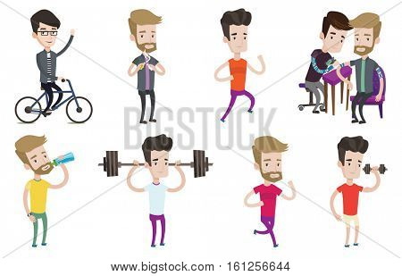 Weightlifter lifting a heavy weight dumbbell. Caucasian weightlifter doing exercise with dumbbell. Weightlifter holding dumbbell. Set of vector flat design illustrations isolated on white background.