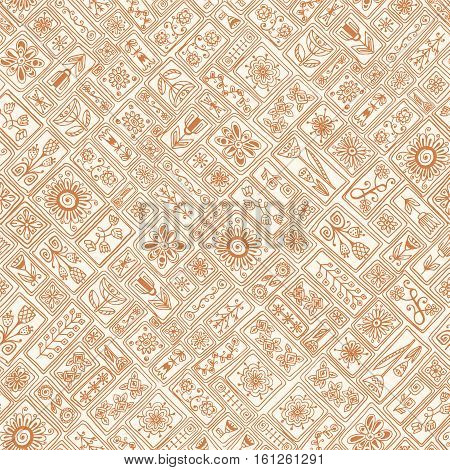 Seamless asian ethnic floral retro doodle grunge background pattern in vector. Quilting, patchwork, embroidery, cross-stitch, seamless vector pattern, quilt, patch, patchwork blanket, fabric pattern.