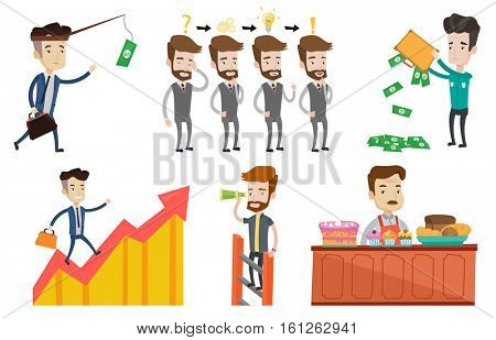 Young businessman during business planning. Caucasian businessman working on a new business plan. Business planning concept. Set of vector flat design illustrations isolated on white background.
