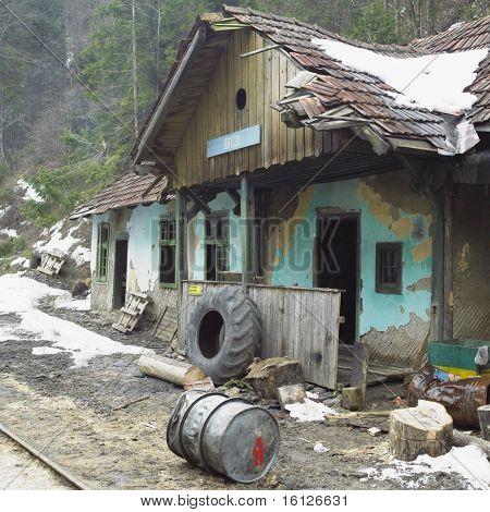 Botizu station, wood railway, Viseu de Sus, Romania