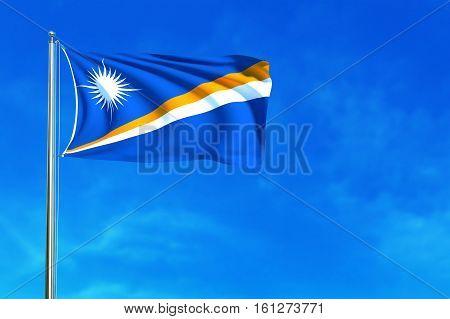 Flag of Marshall on the blue sky background. 3D illustration