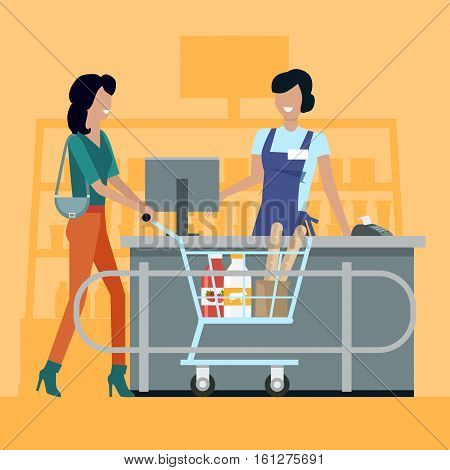 Buying fresh food in market concept vector. Flat design. Cashier serves buyers on counter desk. Comfortable and fast purchases. Picture for retail companies, shopping and payment services ad.