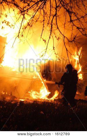 Fireman And A Huge Fire