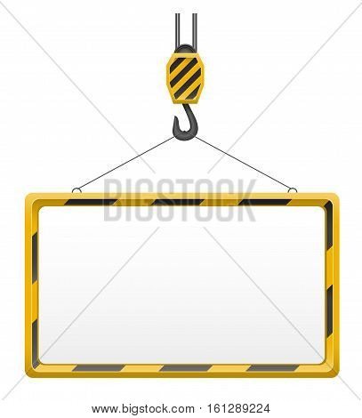hook crane for building blank template board vector illustration isolated on white background