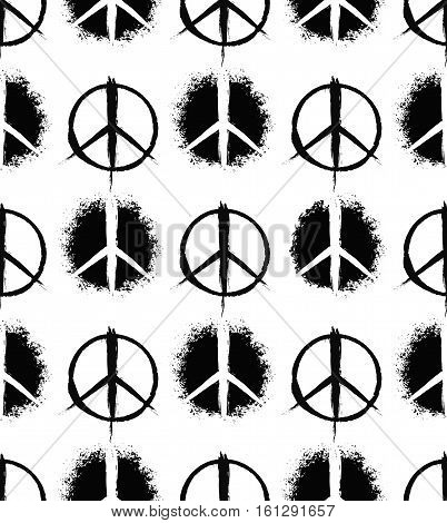 Pacifist peace symbols pattern. Seamless hand drawn background. Grunge brush strokes design elements. Black white hippie signs. Regular repetition. Unusual vector illustration. Negative space.