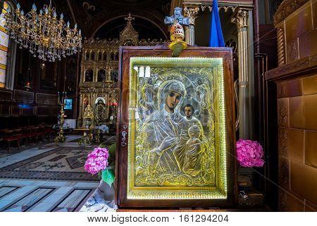Brasov Romania - July 5 2016: Interior of Orthodox Assumption Church in Brasov city