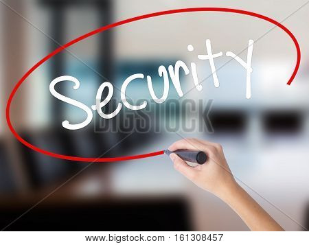 Woman Hand Writing Security With A Marker Over Transparent Board