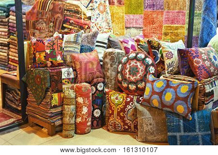 Colorful oriental pillows in The Grand Bazaar Istanbul Turkey