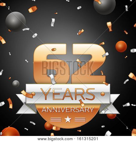 Sixty two years anniversary celebration background with silver ribbon confetti and circles. Anniversary ribbon. Vector illustration.