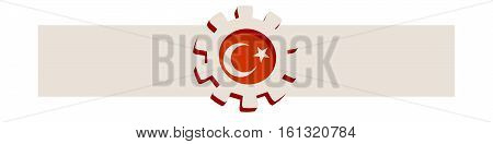 3D cog wheel with Turkey flag. Precision machinery relative backdrop. Vector illustration for web banner or header