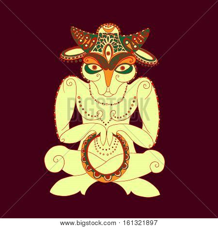 Sheep-buddhist with three eyes and a tambourine on purple background