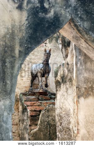 Horse Statue Amongst Old Ruins In Lop Buri, Thailand
