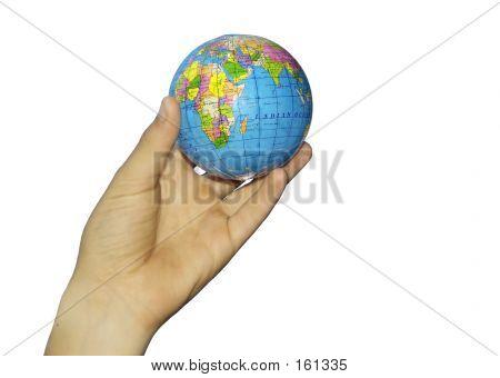 Child Hand And Globe
