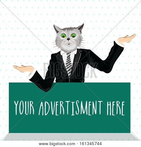 Cat dressed up in a suit with hands extended, Creative Half Human and Half Animal illustration, Vector design for Advertising and Promotion Concept.