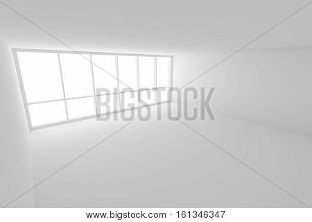 Business architecture white colorless office room interior - empty white business office room with white floor ceiling white walls and large window and empty space 3d illustration view from ceiling