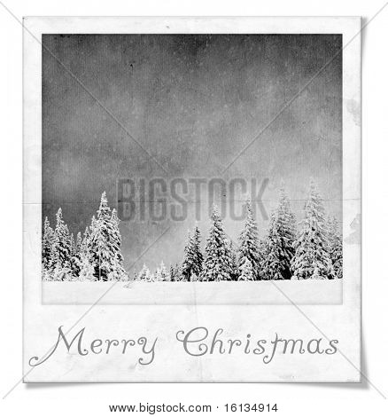 Blac and White Winter Landscape in instant photo frame with Merry Christmas text