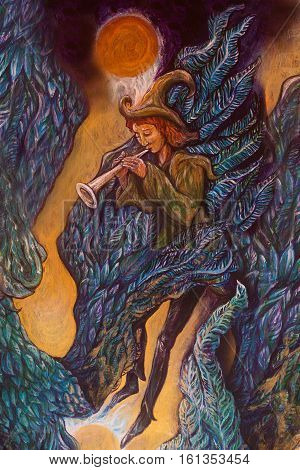 magical piper playing his tune in wing of giant bird, illustration detail.