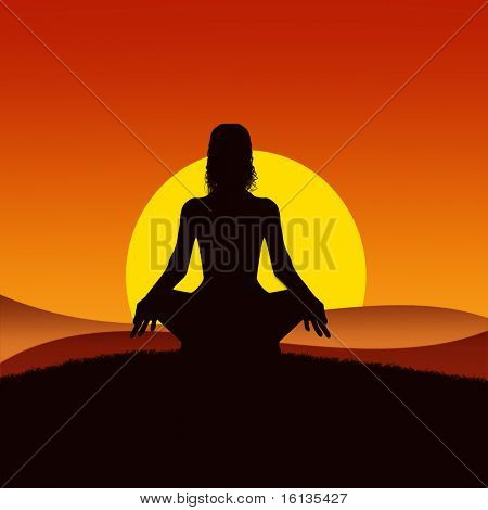 Meditation in sunset