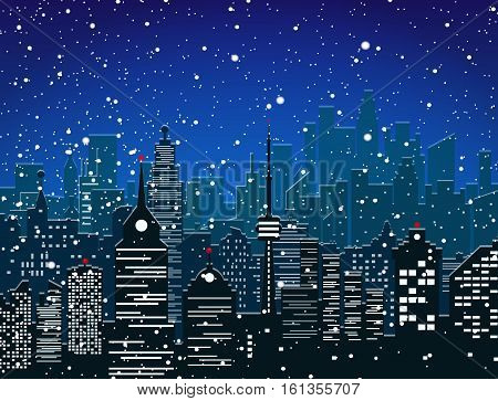 Winter city silhouette, office and residental buildings, falling snowflakes. sky. Christmas and new year, winter urban cityscape vector illustration
