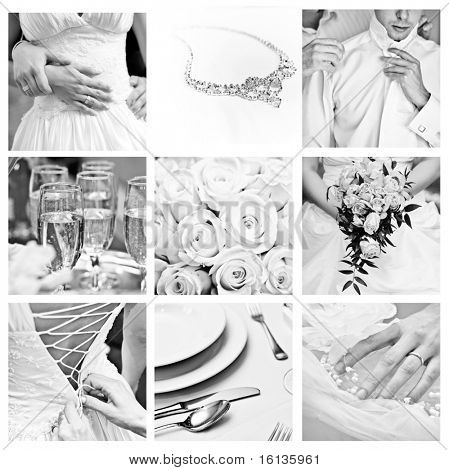 Bouquet of wedding images in Black and White color