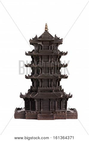 Copy of the old Chinese Buddhist pagoda aka stupa. It is isolated on a white background.